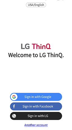 A screenshot of the LG ThinQ welcome to LG ThinQ splash page inside of the LG ThinQ app