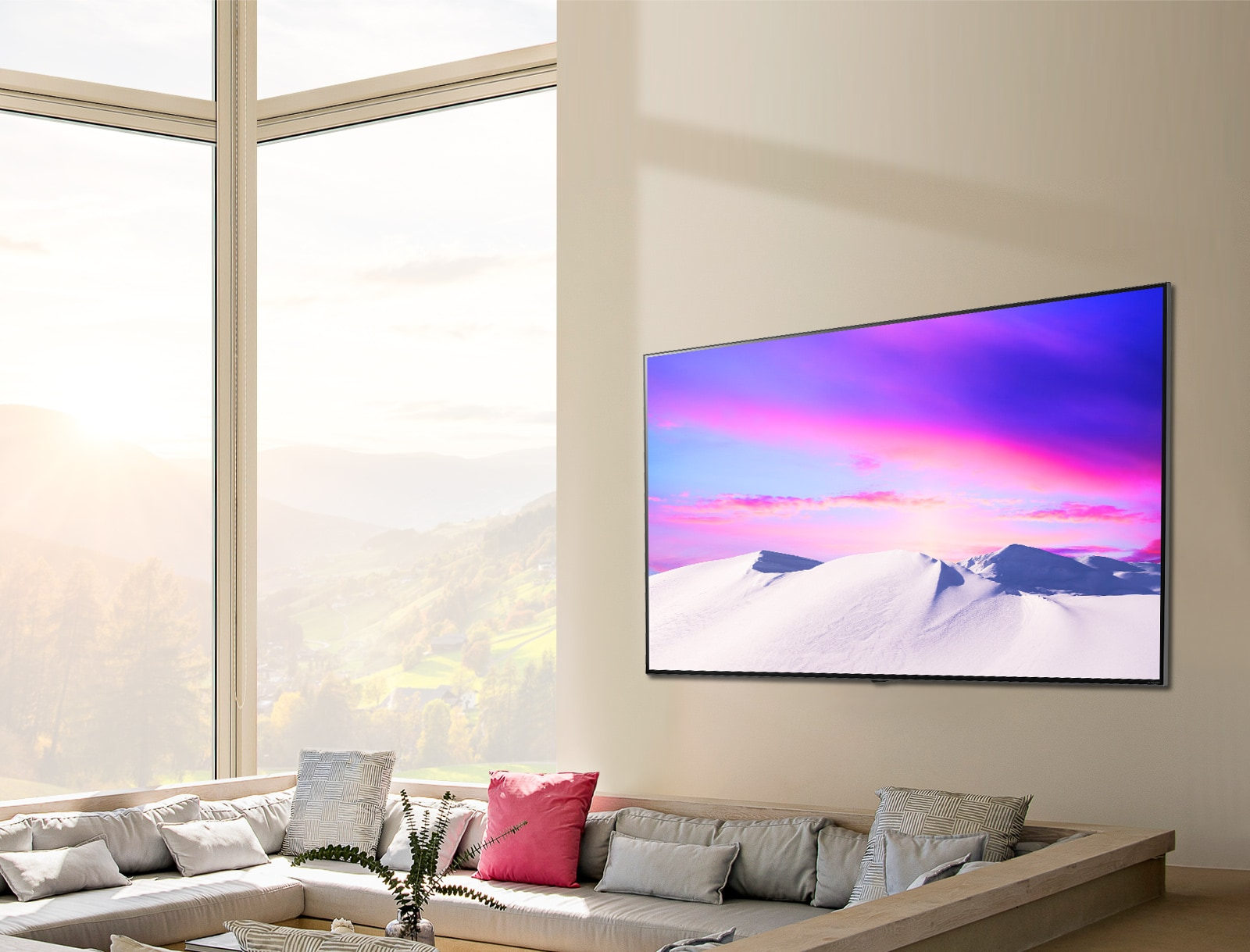 LG NanoCell TV screen hung on wall depicting a magnificent landscape displayed accurately from various angles