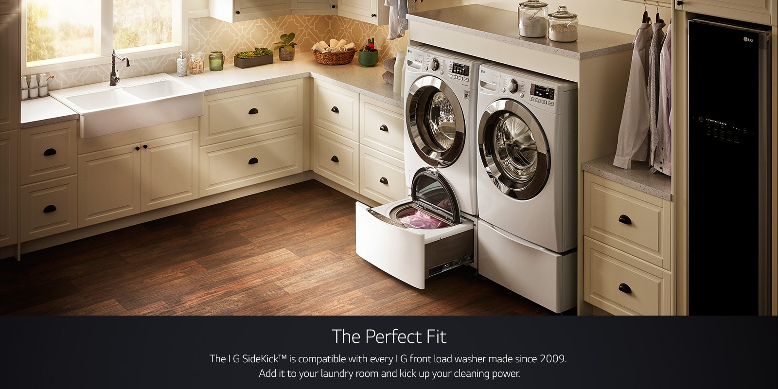 LG TWINWash™: Dual Washer w/ Flexible Washing Options | LG USA on counter over front-loading washer, glass washer, laundry room front loader counter top,