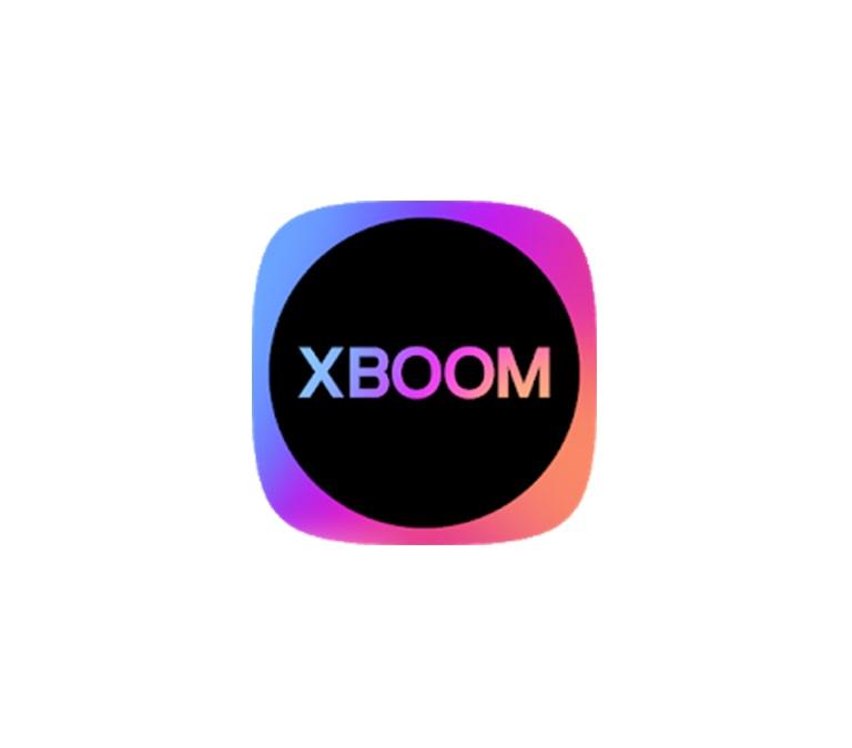 Biểu tượng XBOOM nhiều màu nằm ở chính giữa nền trắng