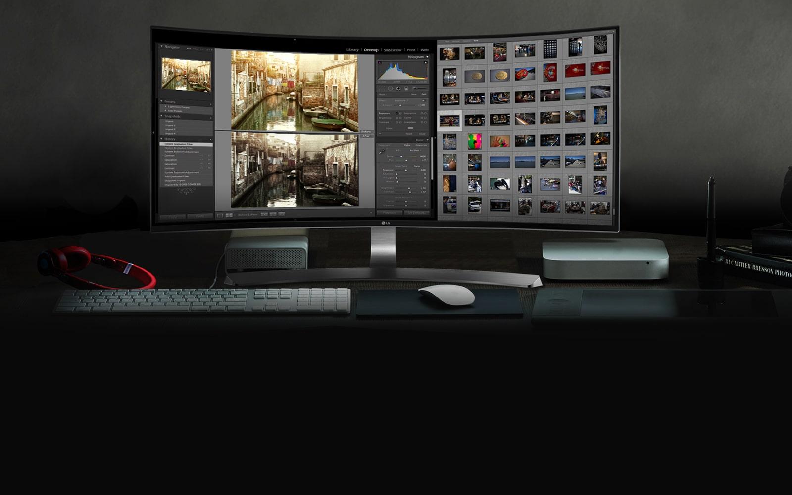 Màn hình cong 21:9 Curved UltraWide™ QHD với tấm nền IPS