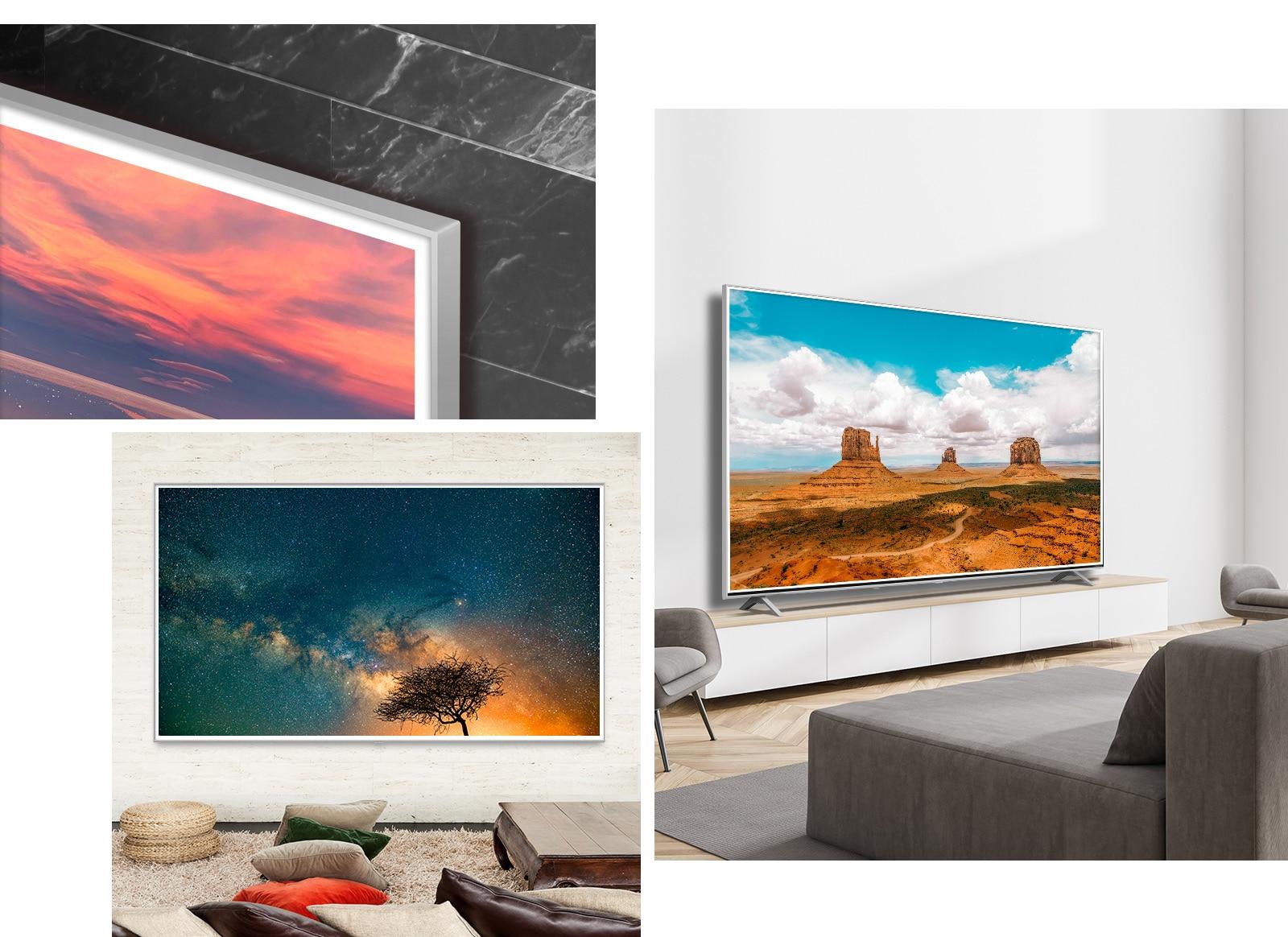 Ba hình ảnh TV LG QNED Mini LED treo tường có đường viền khung hình Misty Grey trong nội thất hiện đại.