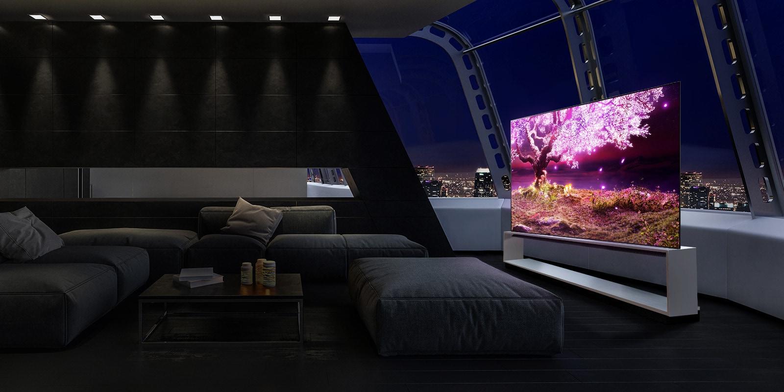 TV hiển thị cây phát ra ánh sáng màu tím trong khung cảnh ngôi nhà sang trọng
