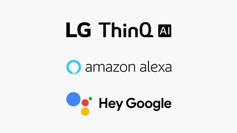 Thẻ này mô tả lệnh giọng nói. Logo LG ThinQ AI, logo Hey Google và logo Amazon Alexa được hiển thị.
