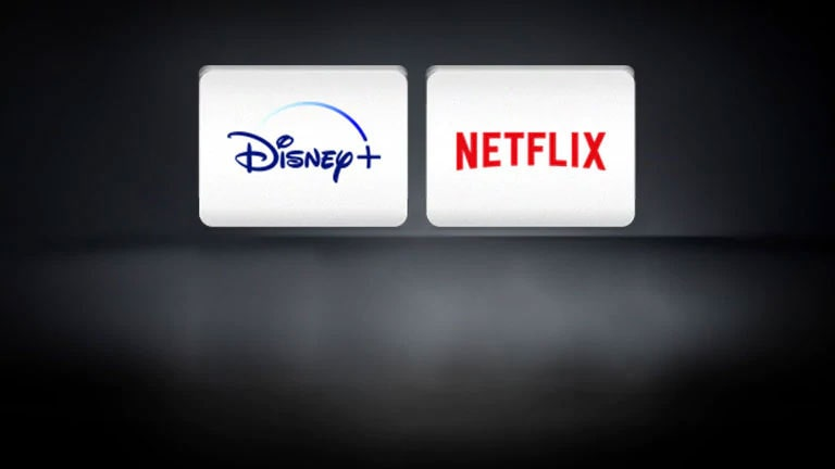 The Netflix logo, the Disney+ logo are arranged horizontally in the black background.