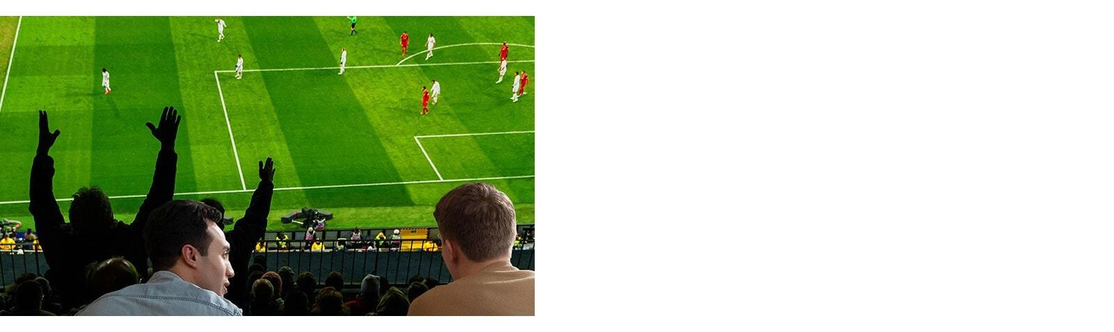 Mọi người xem trò chơi thể thao trên TV trong phòng khách với TV màn hình cực lớn