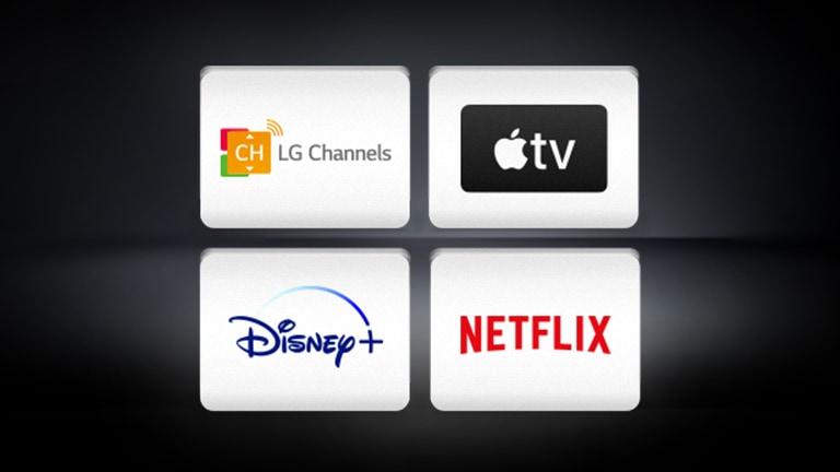 Logo Apple TV, logo Disney+ và logo Netflix được bố trí trên nền đen.