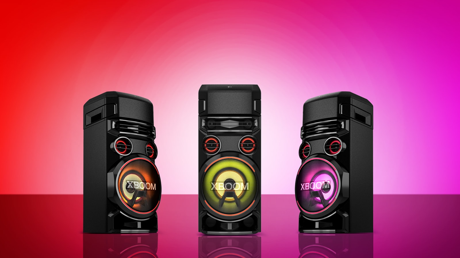 Bản video xem trước giới thiệu ba loa LG XBOOM ở ba chế độ đèn khác nhau.