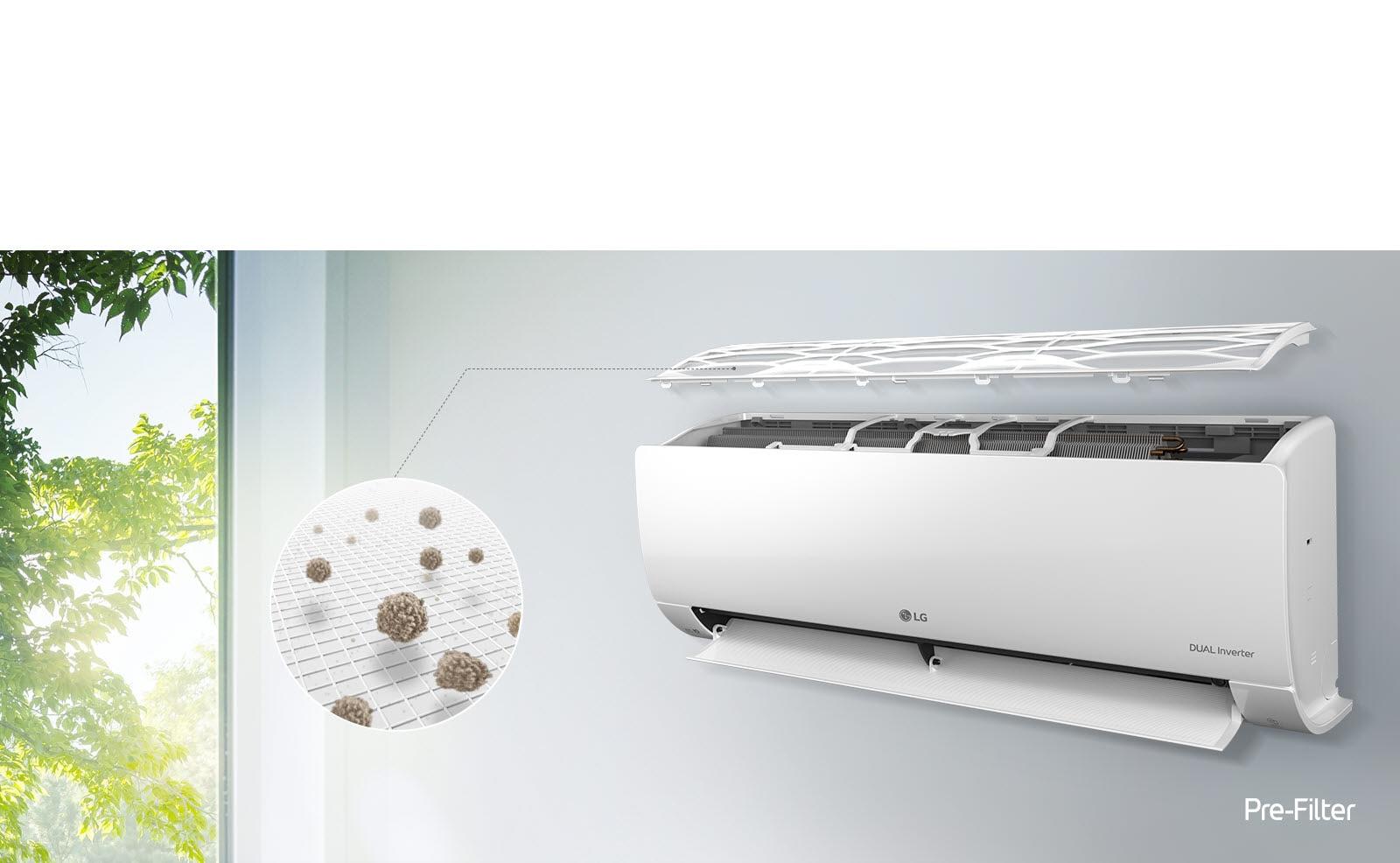 Máy điều hòa không khí LG được lắp trên tường và nhìn từ góc bên. Bảng điều khiển bên trên đang trôi ở phía trên cho thấy các bộ lọc bên trong. Một đường từ bộ lọc sơ cấp dẫn ra một vòng tròn phóng to cho thấy bụi được giữ lại trong bộ lọc sơ cấp. Logo Bộ lọc sơ cấp được hiển thị ở góc dưới bên phải.