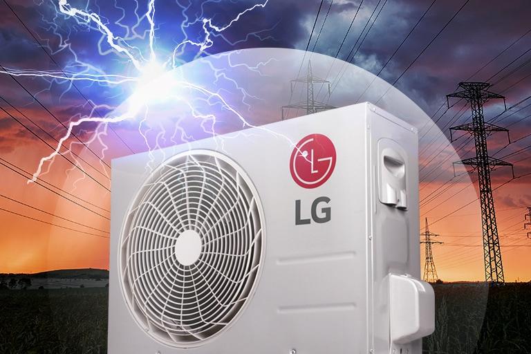 Quạt LG bên ngoài ngôi nhà được hiển thị với bầu trời sấm sét u tối ở hậu cảnh. Logo LG có thể nhìn thấy ở bên cạnh động cơ.
