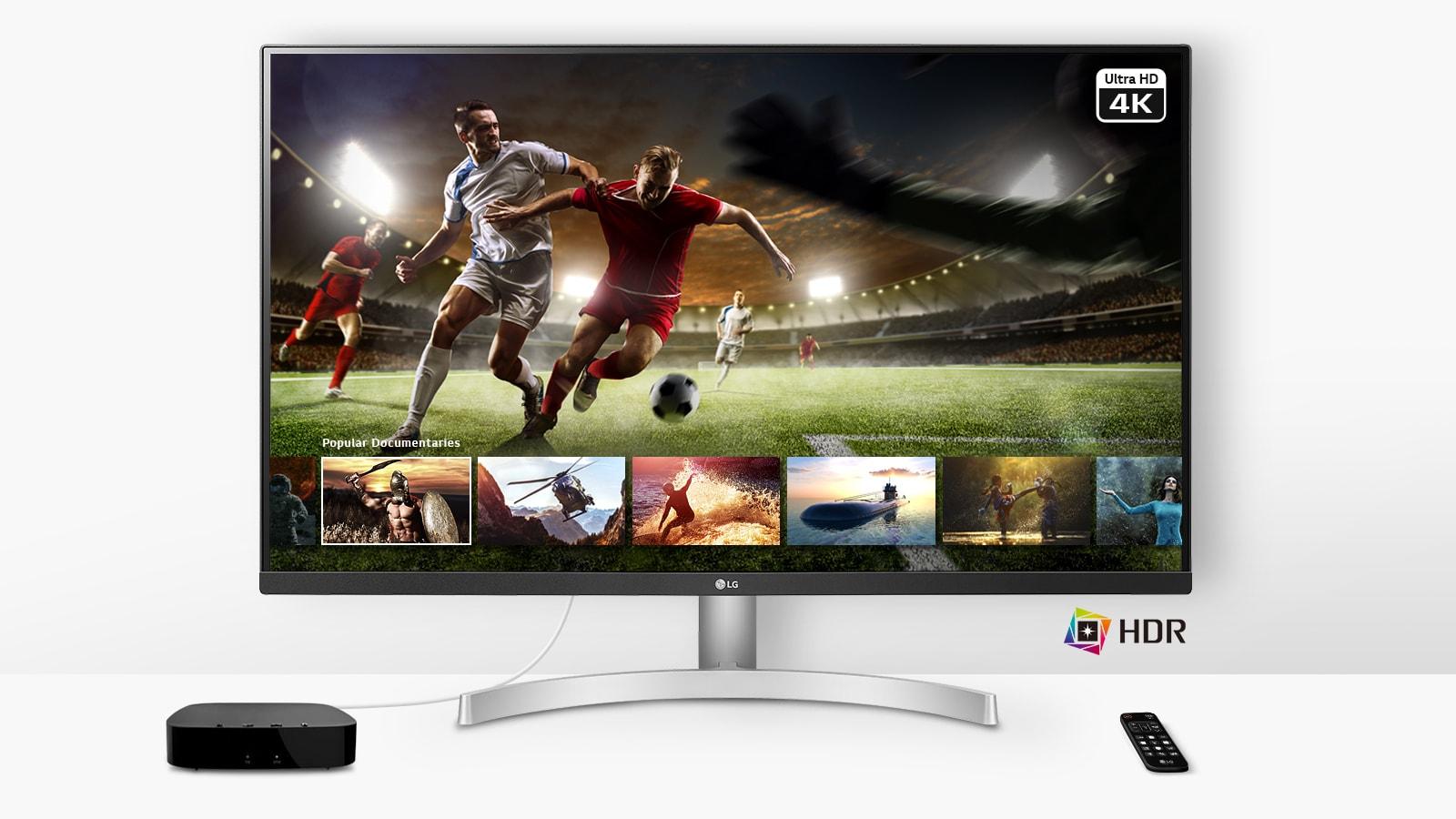 Một trận bóng đá trực tiếp đang phát trên màn hình Ultra HD 4K HDR từ dịch vụ phát trực tuyến