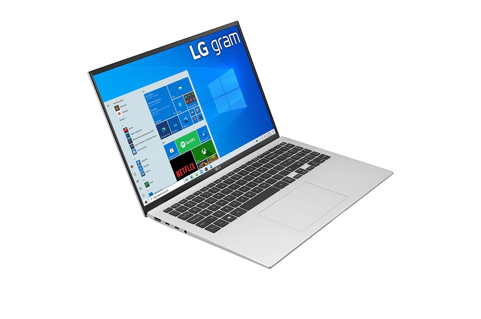 LG Laptop LG gram 16'', Windows 10 Home, Intel® Core™ i7 Gen11, 16GB, 256GB, 16:10, Hình từ góc -30 độ và dựng màn, 16Z90P-G.AH73A5