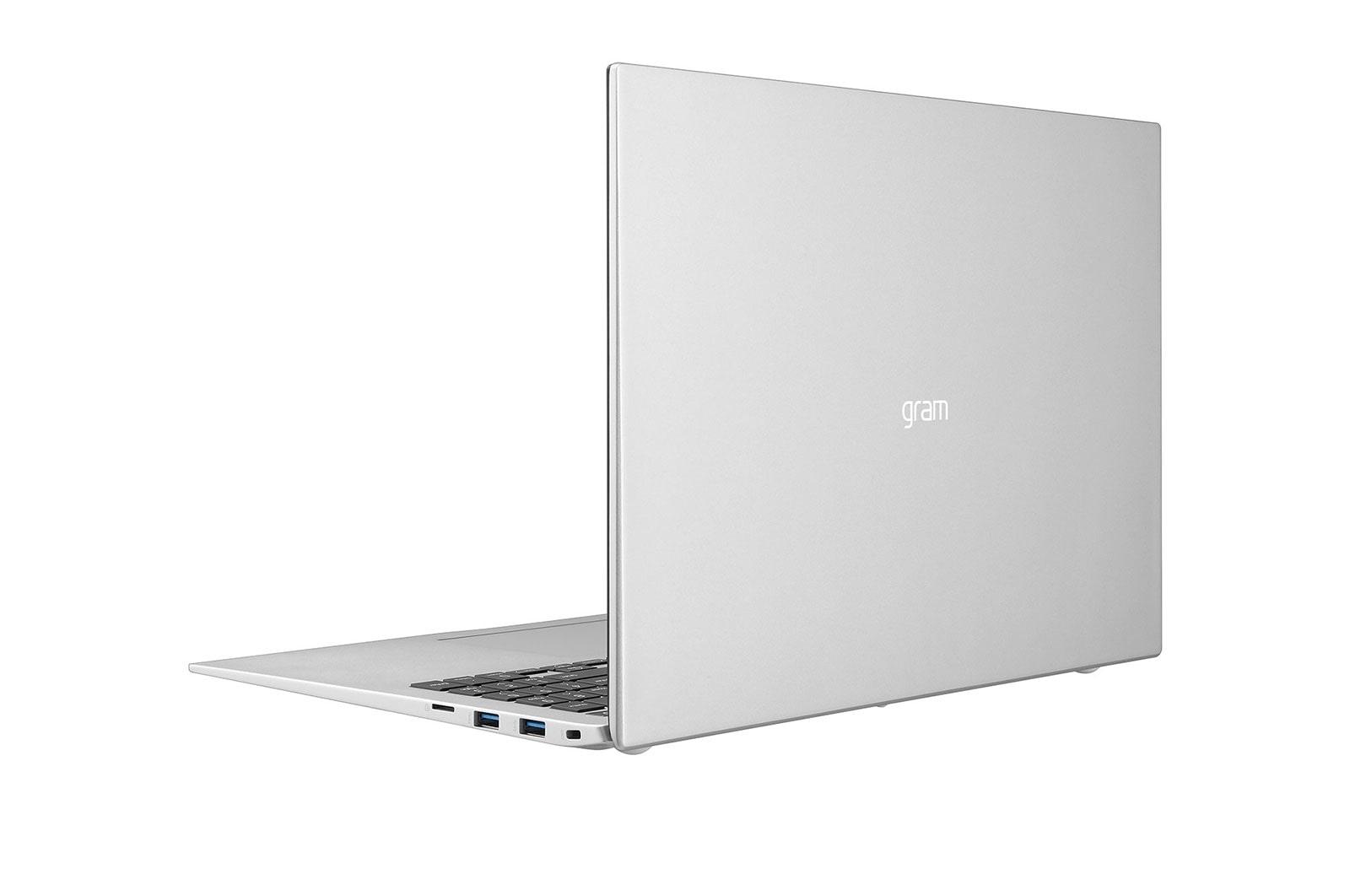 LG Laptop LG gram 16'', Windows 10 Home, Intel® Core™ i7 Gen11, 16GB, 256GB, 16:10, Hình từ phía sau +30 độ và dựng màn, 16Z90P-G.AH73A5