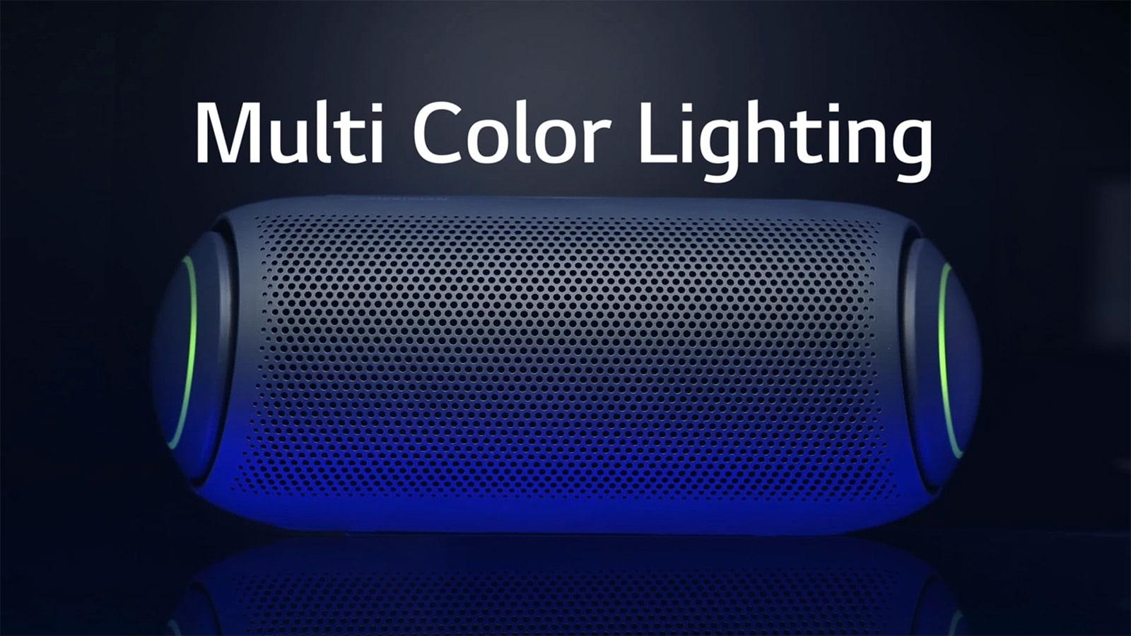 Ảnh mặt trước của XBOOM Go có đèn loa siêu trầm nhiều màu sắc trên nền tối màu