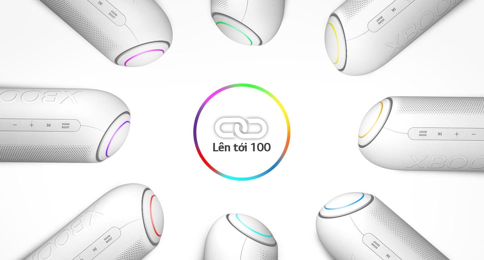 Tám chiếc LG XBOOM Go với các màu đèn khác nhau được xếp theo hình tròn xung quanh biểu tượng liên kết trên nền trắng.