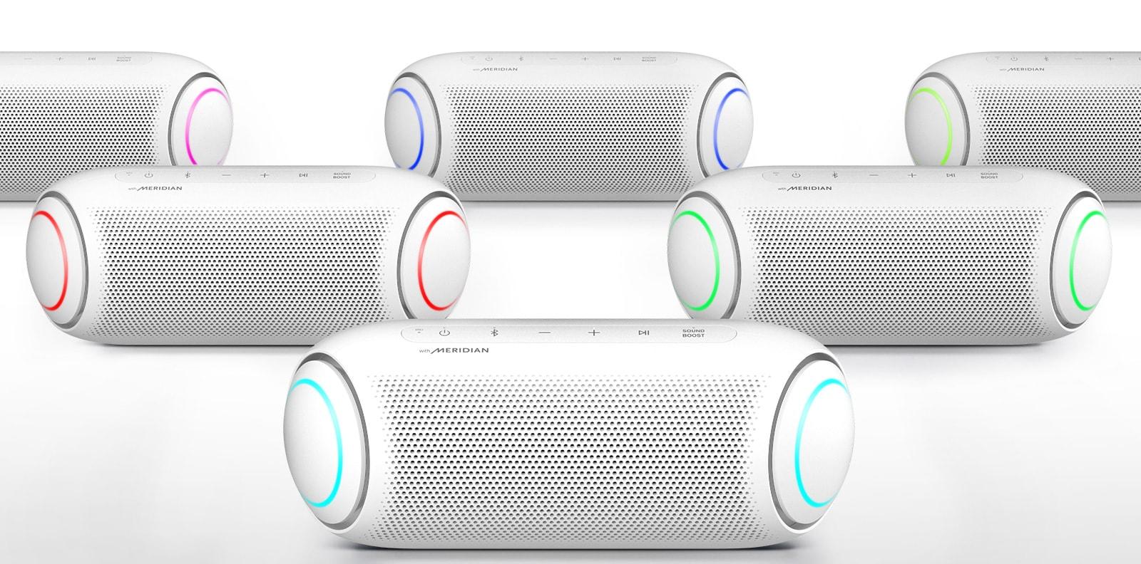 Năm loa XBOOM Go đang bật đèn với các màu khác nhau trên nền trắng.