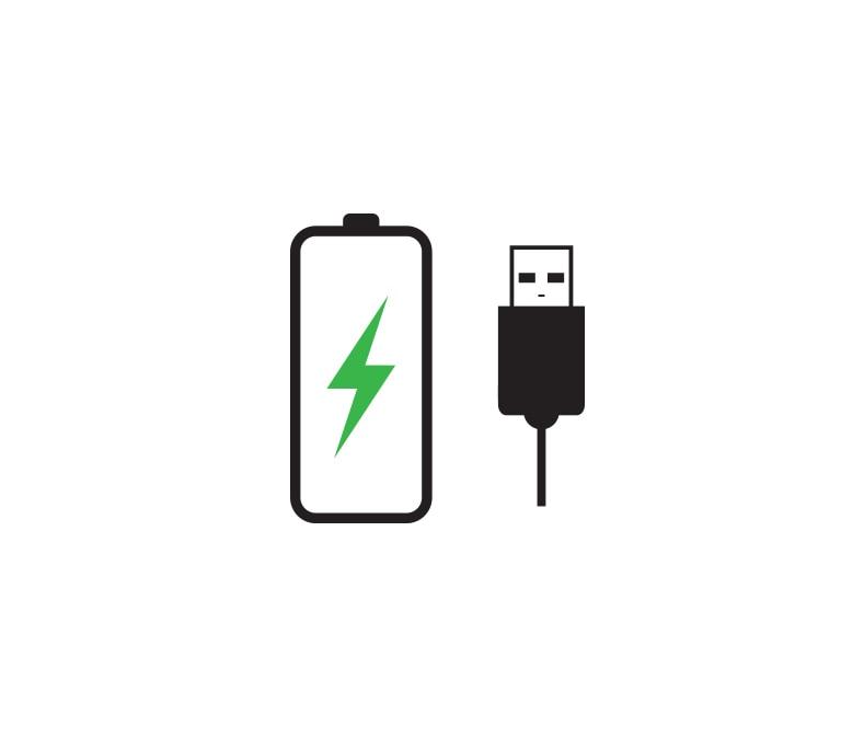 Có biểu tượng pin đang nhấp nháy xanh bên trái và cáp USB bên phải.