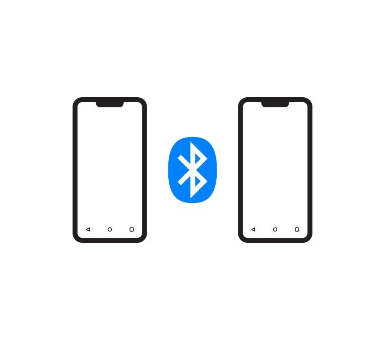 Logo Bluetooth nằm giữa hai biểu tượng điện thoại di động.