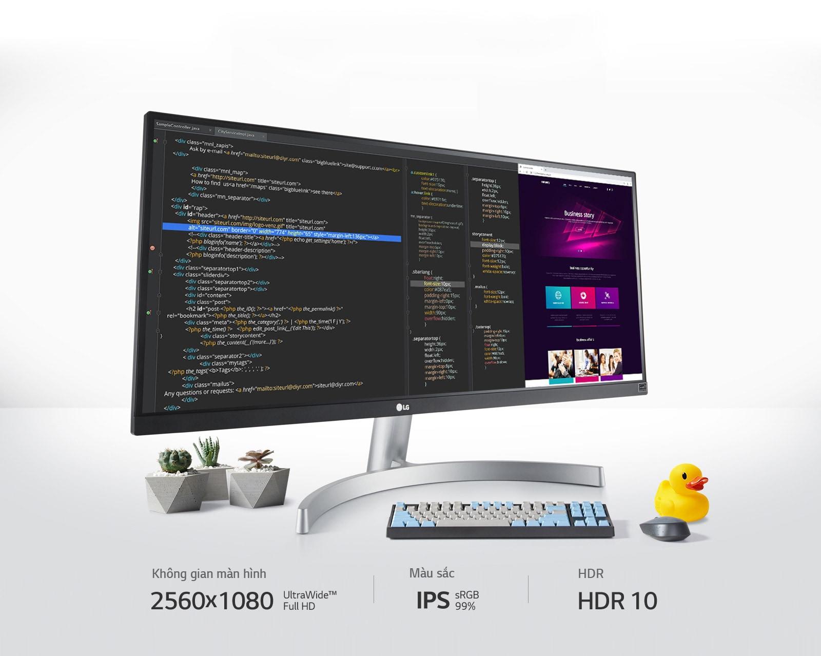 Với màn hình 2560x1080 UltraWide™ Full HD, IPS, sRGB 99% và HDR 10, bạn có thể Xem Nhiều Hơn Sáng Tạo Hơn.