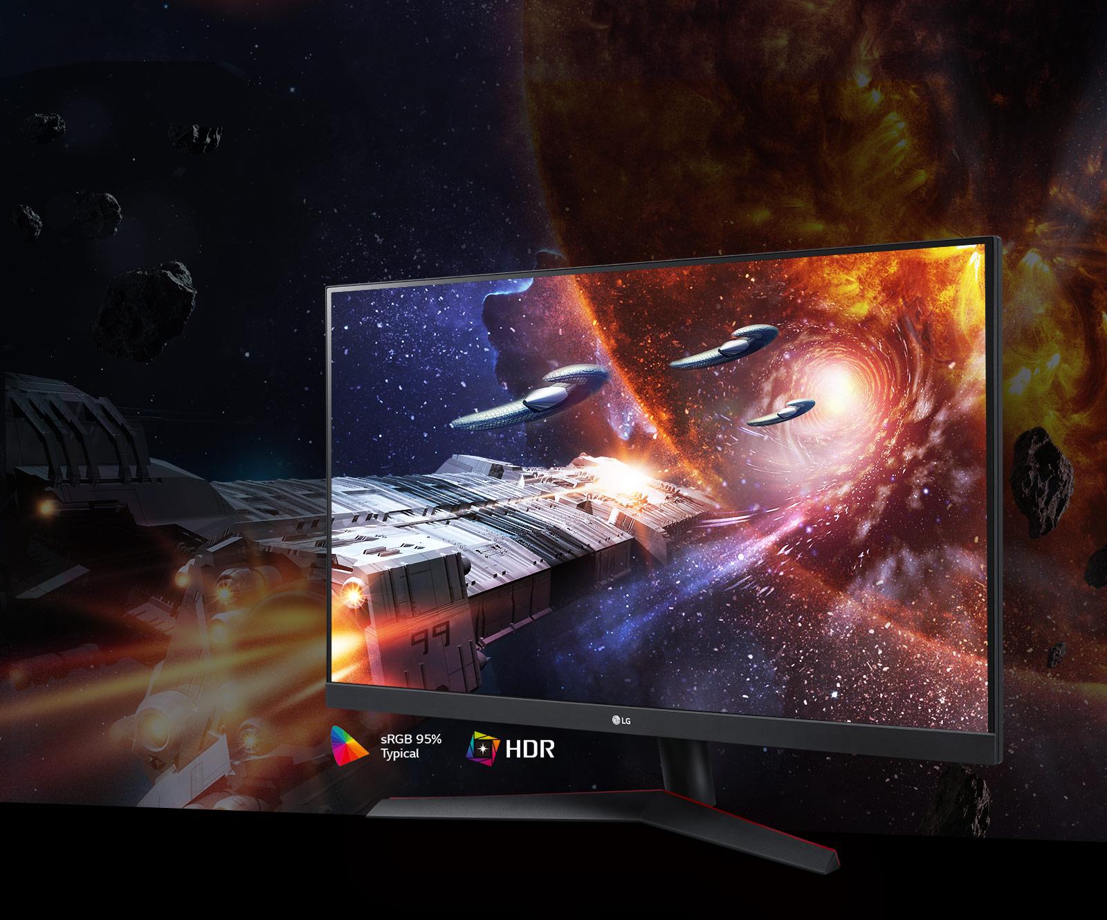 Cảnh game với màu sắc và độ tương phản phong phú trên màn hình hỗ trợ HDR10 với sRGB 95% (Thông thường)