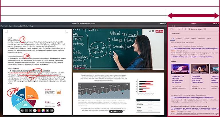 Màn hình 21:9 UltraWide có diện tích màn ảnh rộng hơn so với màn hình 16:9 đang hiển thị một lớp học trực tuyến đang diễn ra.