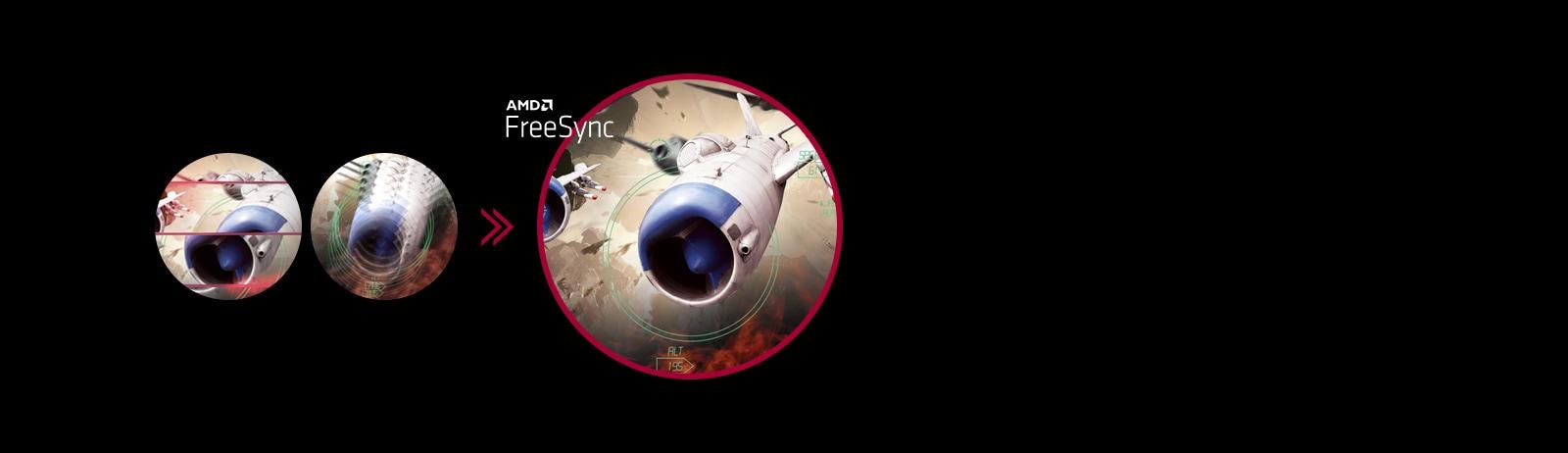 Hình ảnh game rõ ràng với chuyển động mượt mà, trôi chảy khi bật AMD FreeSync™, trong khi màn hình bị giật hình và rách hình khi tắt AMD FreeSync™.