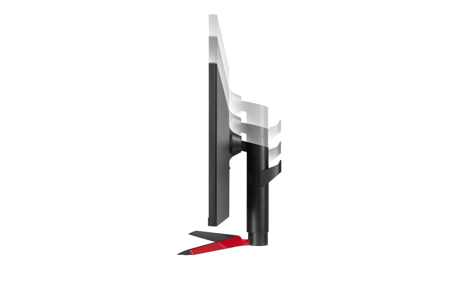 LG Màn hình máy tính LG UltraWide™ 34'' IPS  Full HD AMD FreeSync™ VESA DisplayHDR™ 400 sRGB 99% USB Type-C™ 34WP65G-B , ảnh mặt bên của màn hình đang di chuyển xuống dưới khi điều chỉnh độ cao, 34WP65G-B