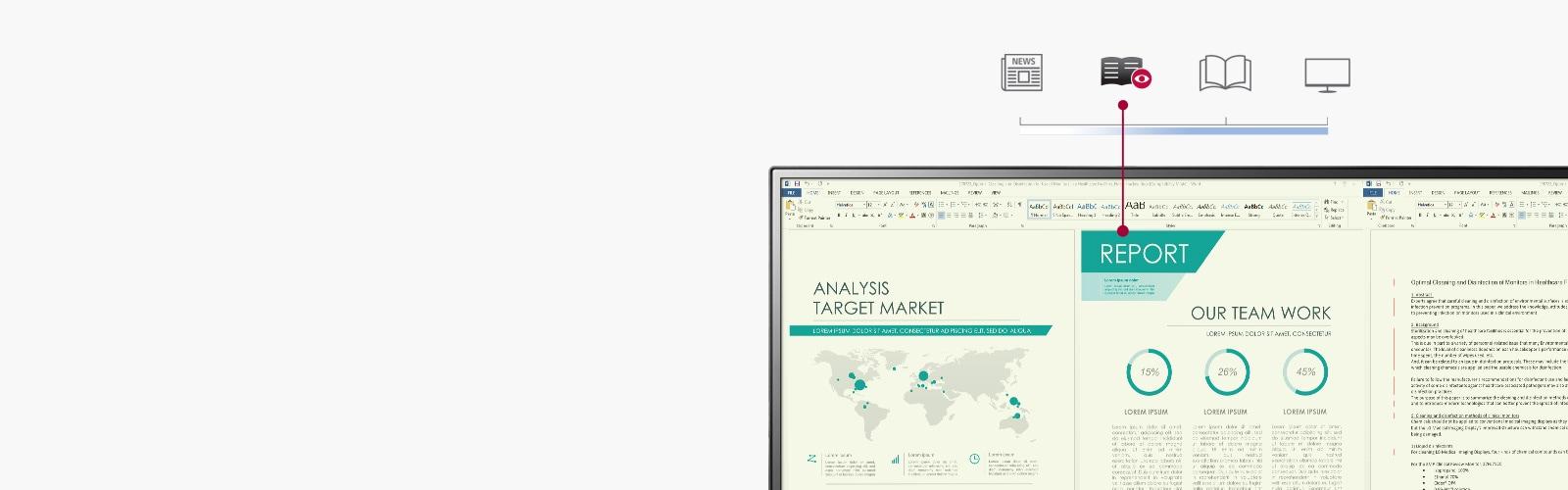 Báo cáo công việc hiển thị trên màn hình giảm phát ánh sáng xanh với nhiệt độ màu tương tự như trên giấy, so với chế độ thông thường