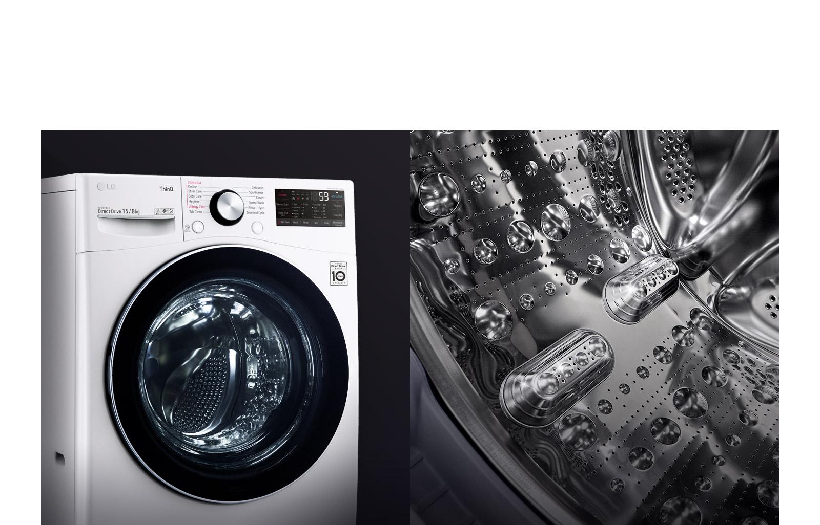 Hình ảnh hiển cho thấy mặt trước của máy giặt cửa trước, tập trung vào cửa kính cường lực. Hình ảnh thứ hai hiên thị bên trong lồng giặt, tập trung vào thiết kế thép không gỉ.