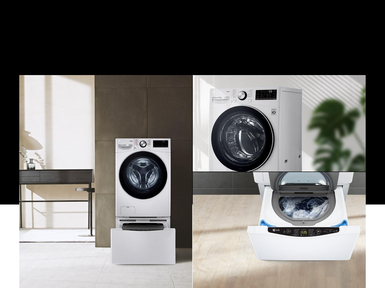 Một ảnh ghép cho thấy máy giặt tương thích TWINWash Mini trong một ngôi nhà theo phong cách hiện đại. Hình ảnh chụp mặt trước của máy giặt với cửa đang đóng và hai hình ảnh chụp ngăn dưới đang mở.