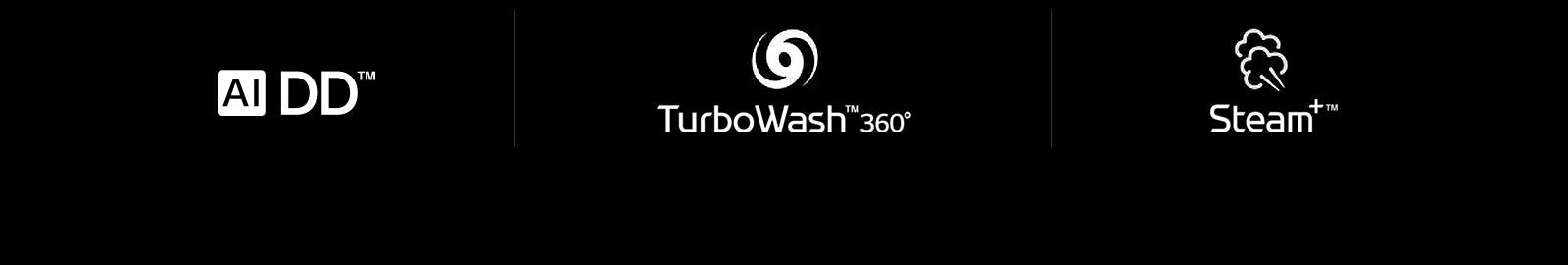Một hàng có bốn biểu tượng LG là: Dấu hiệu của AI DD. Dấu hiệu TurboWash 360. Dấu hiệu của Steam.