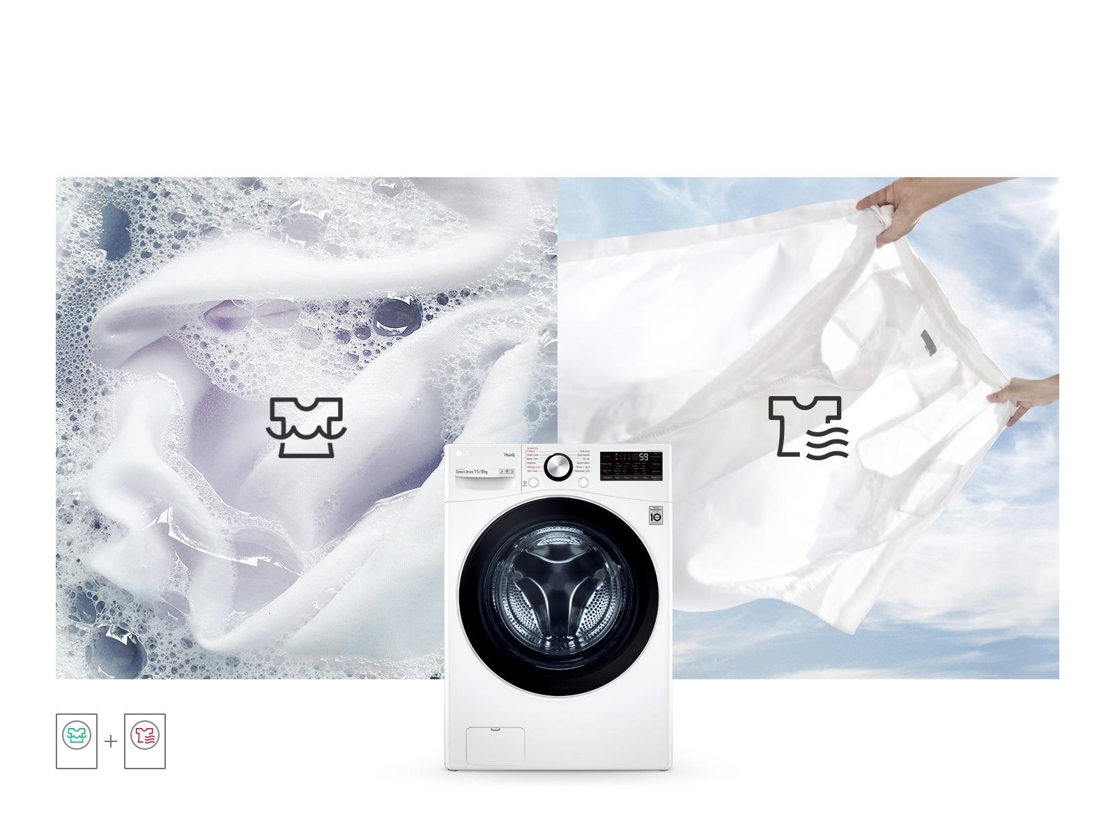Hình ảnh phía sau chụp một áo sơ mi trắng dính bọt xà phòng trong chu trình giặt và hình ảnh thứ hai phía sau chụp chiếc áo sơ mi đó trong chu trình sấy. Hình phía trước là TopGun2.