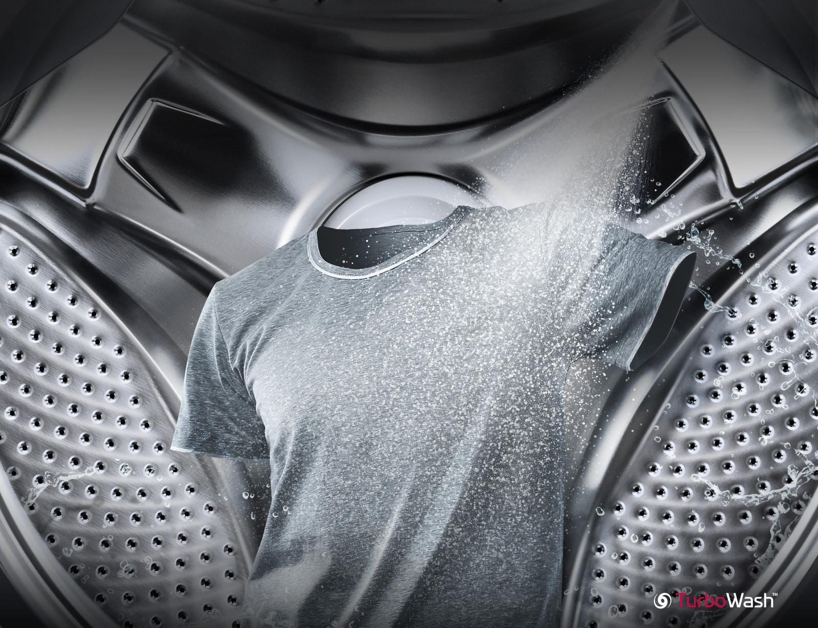 Một chiếc áo sơ mi màu xám đang được phun tia nước ở phía trước và lồng máy giặt ở phía sau. Các hình ảnh nhỏ phía dưới hiển thị chức năng phun tia và lọc.