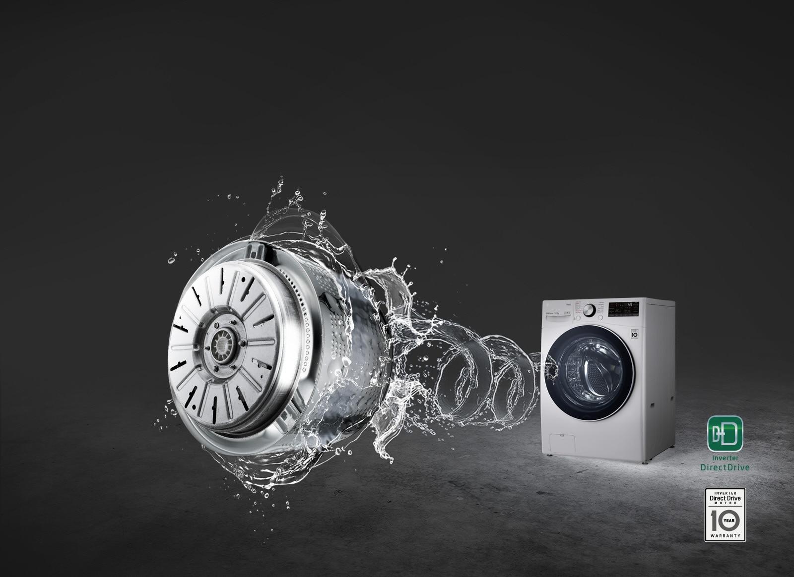 Nền màu xám với một máy giặt cửa trước được chiếu sáng và một dòng nước xoáy ở phía trước dẫn đến hình ảnh Động cơ Truyền động Trực tiếp.