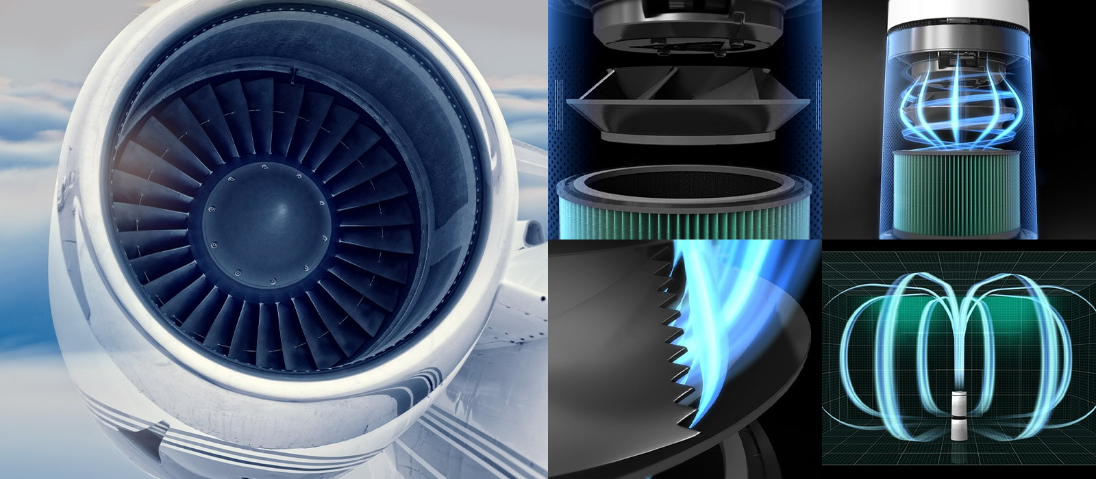 Có 2 hình ảnh. Bên trái là hình ảnh động cơ máy bay và bên phải là hình ảnh quạt của máy lọc không khi để so sánh và thể hiện việc cải thiện hiệu quả của quạt so với trước