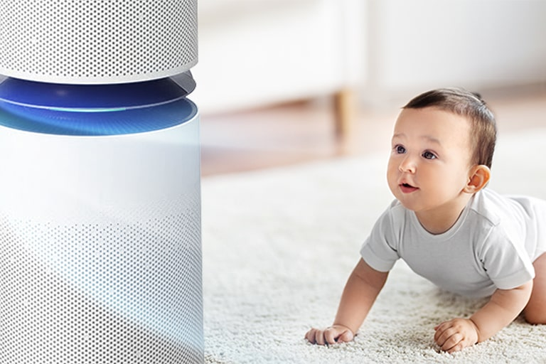 The first image shows an infant looking up at the air purifier which is releasing air in the living room. The second image shows arrows representing air flowing into the machine and the words good, normal, bad, so bad are to the left with the 'good' being indicated as the machine is on.