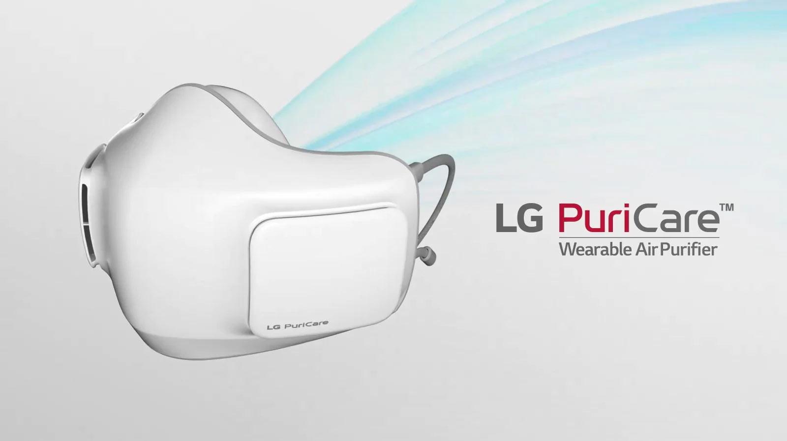 Khẩu trang lọc khí LG PuriCare™ được hiển thị ở góc nghiêng với mặt trước hướng ra bên ngoài. Các vệt màu xanh chụp từ bên trong bộ lọc không khí của khẩu trang về phía sau.