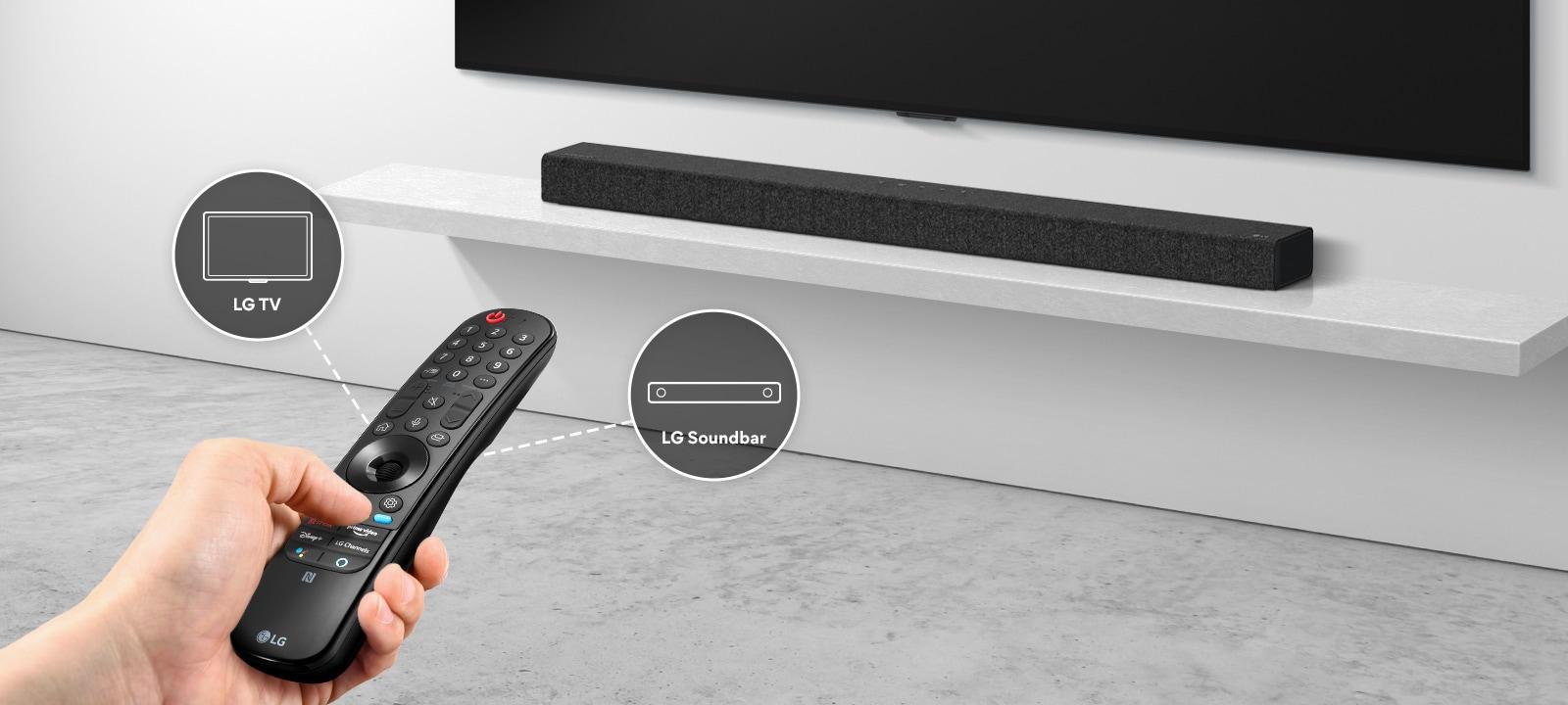 Một người đang cầm một chiếc điều khiển từ xa, điều khiển TV và loa soundbar ở phía sau. Có các biểu tượng của LG TV và LG Soundbar.