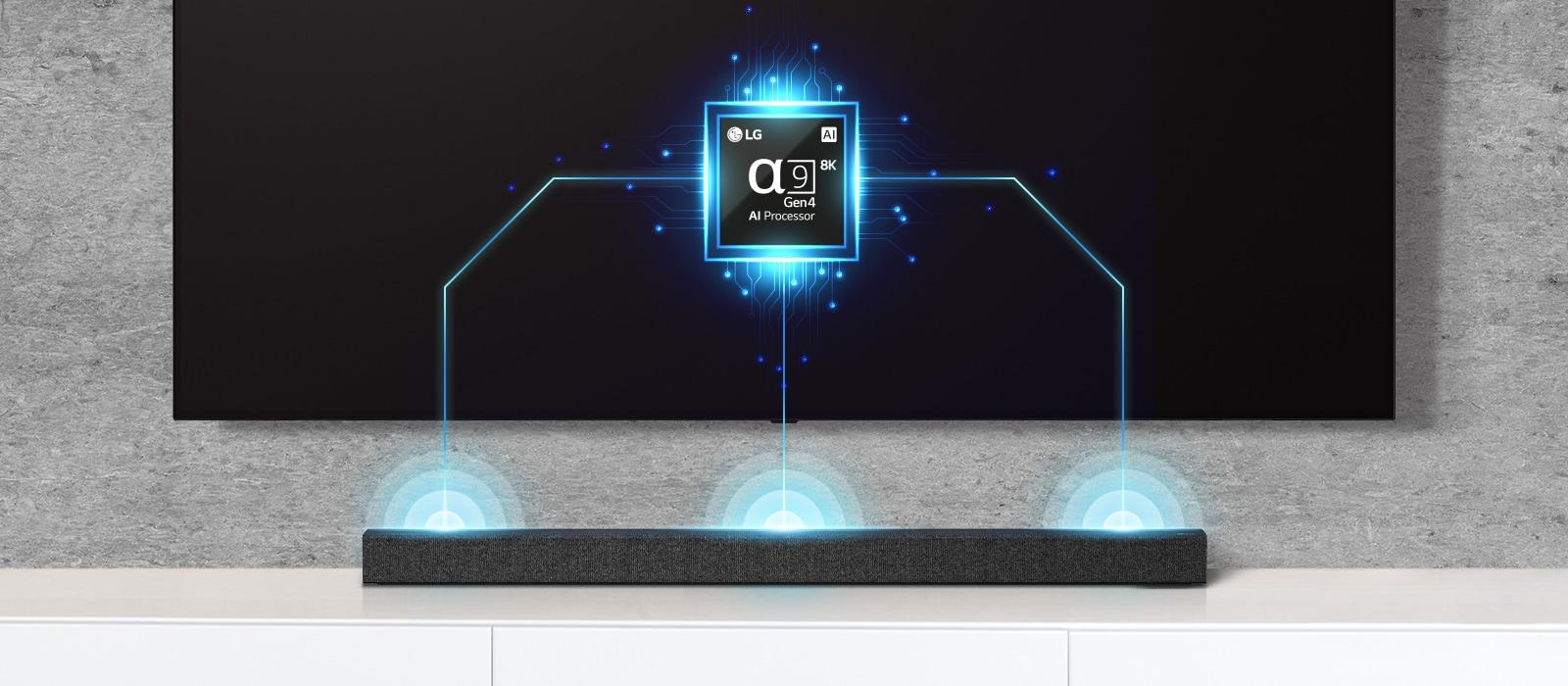 Hình ảnh chip alpha chín trên TV và loa soundbar ngay bên dưới. Ngoài ra còn có hiệu ứng sóng âm thanh phát ra từ loa soundbar.