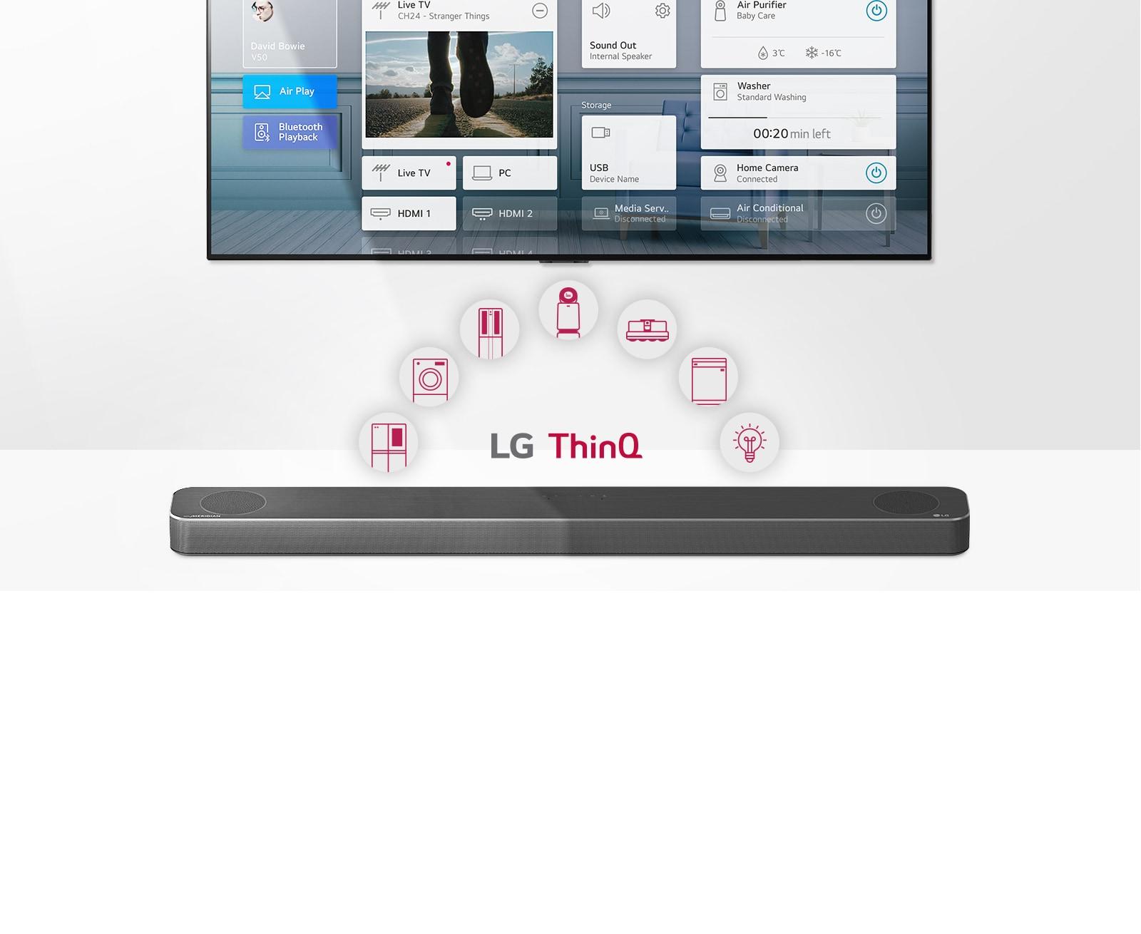 TV treo trên tường. Loa thanh LG đặt bên dưới TV. Logo LG ThinQ và các biểu tượng đồ gia dụng được hiển thị ở giữa TV và Loa thanh LG.