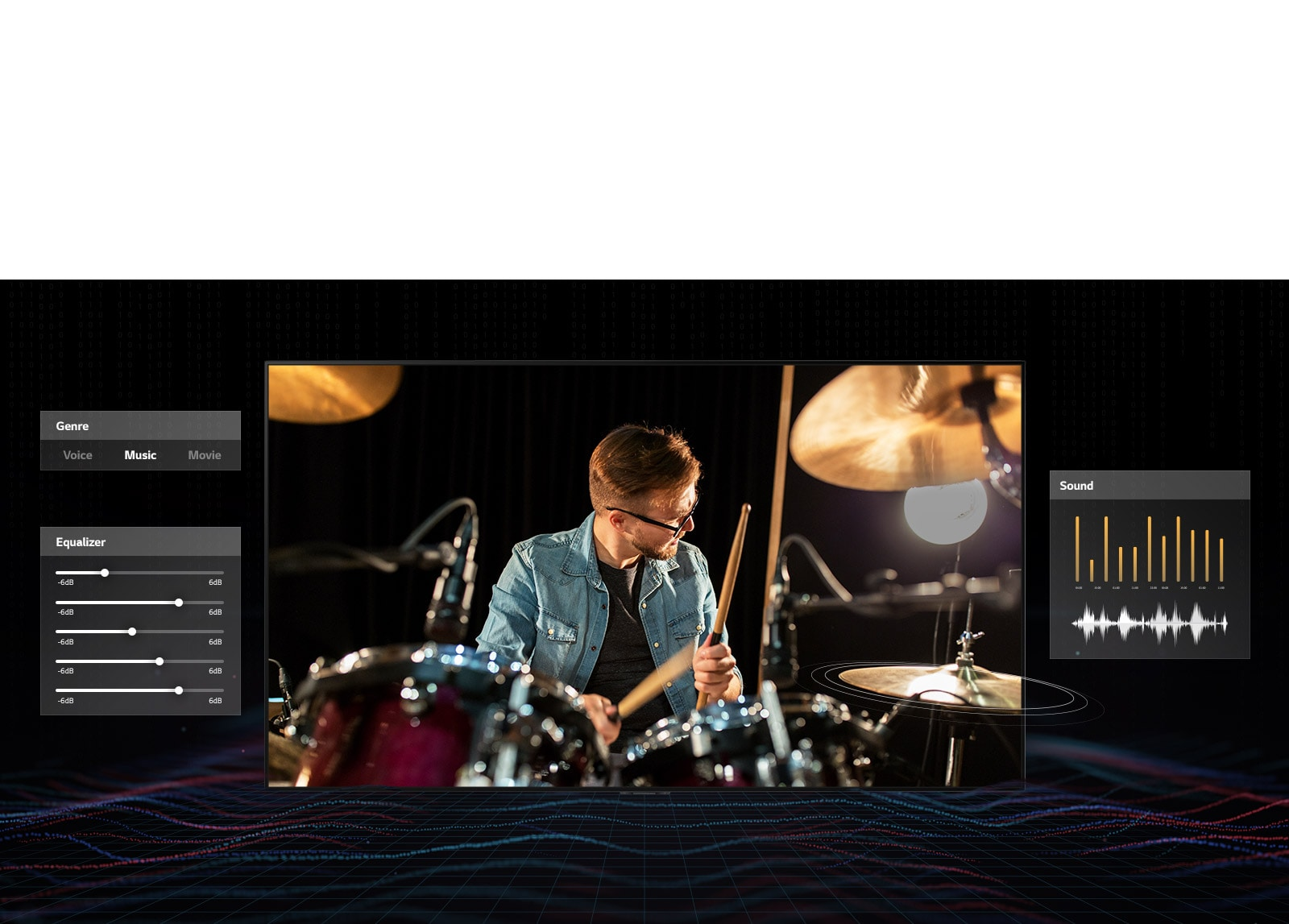 A man in glasses playing drums with music dashboard graphics on both sides