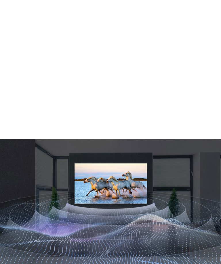 Four white horses running in the water on TV with surround sound graphic