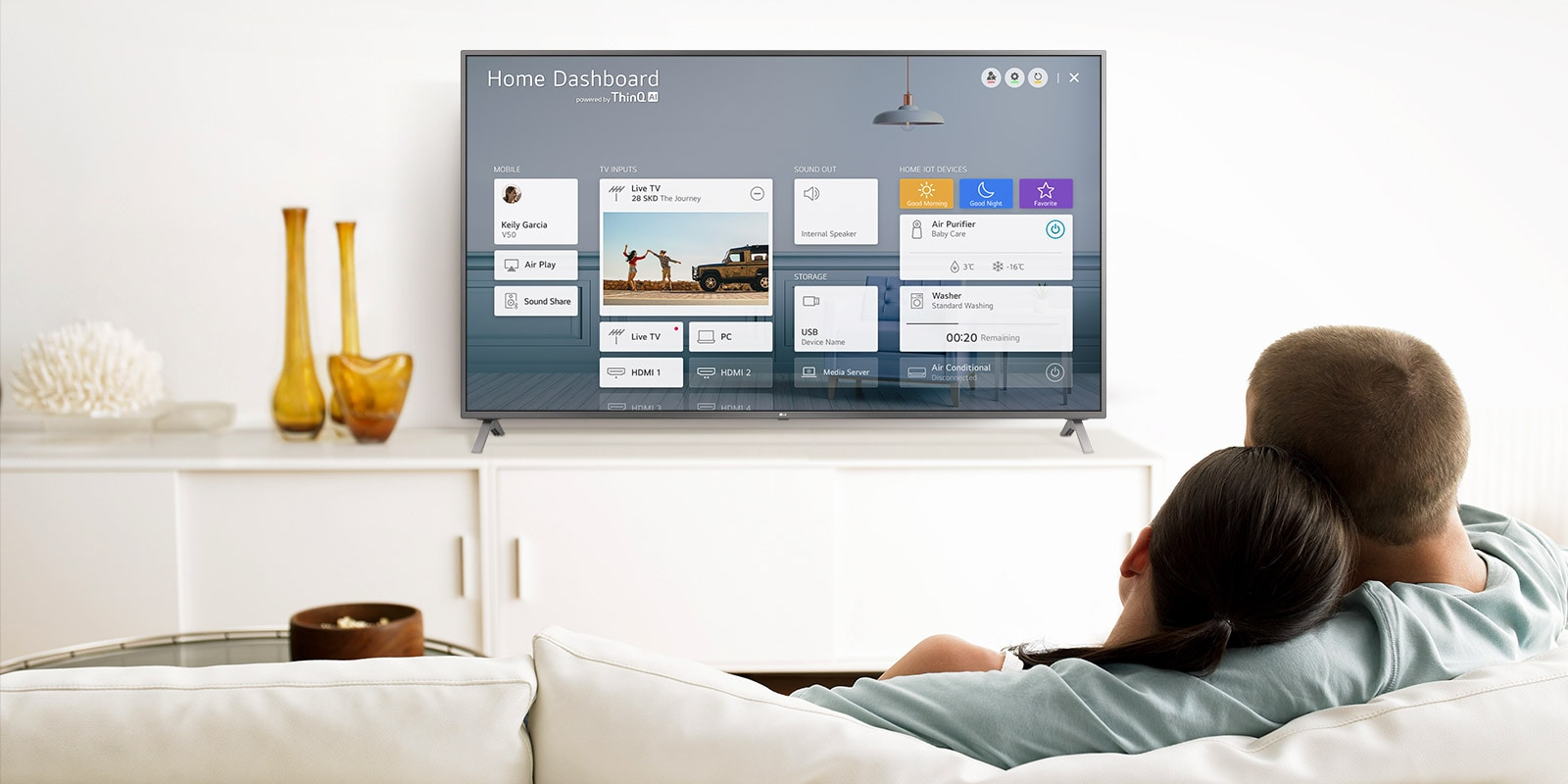 A men and women sitting on a sofa in the living room with the Home Dashboard on the TV screen