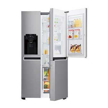 Fridge Freezers : 600L Platinum Silver Side by Side Refrigerator, Door-in-Door™ GC-J247SLUV1