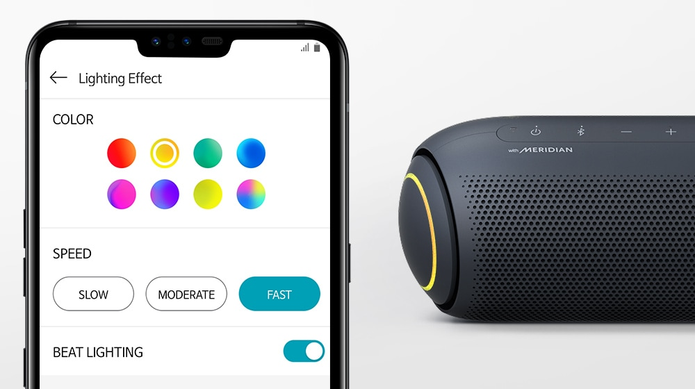 Against a white background, there's a smartphone with an app that controls lighting and an XBOOM Go with yellow lighting.