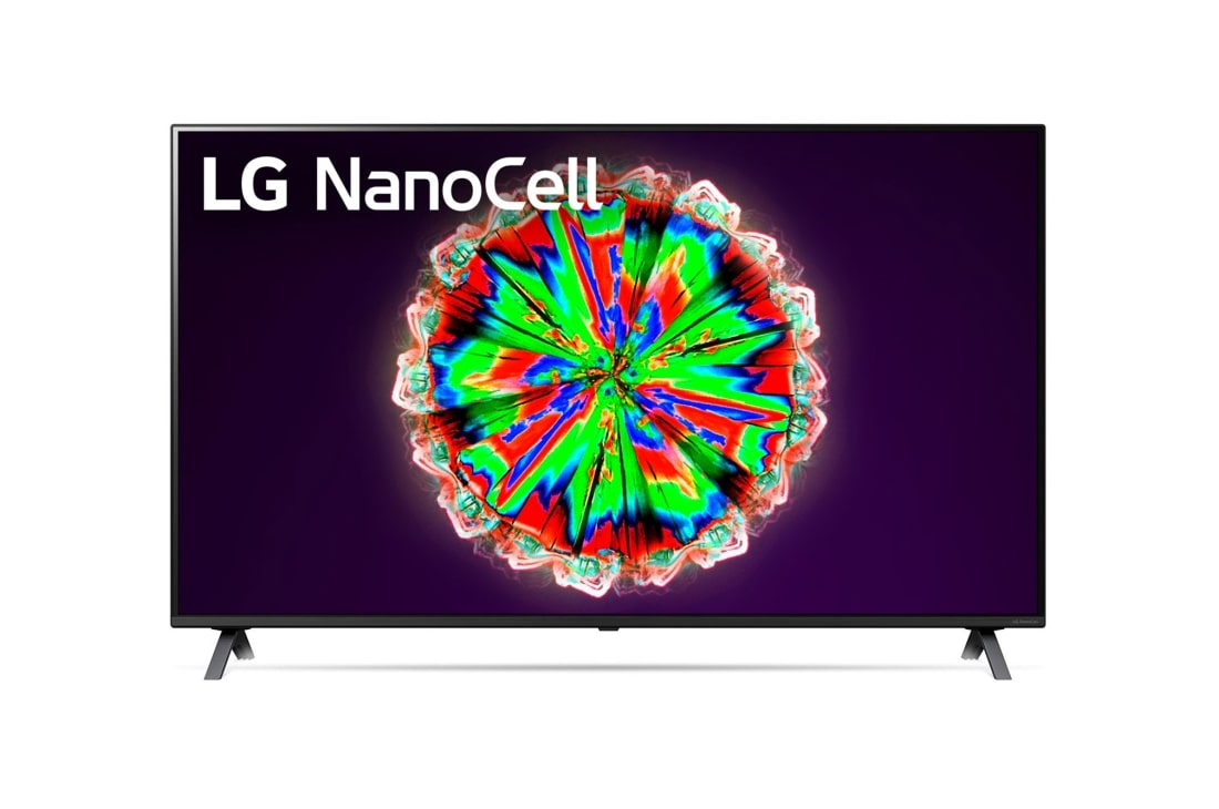 LG NanoCell TV 55 Inch NANO80 Series, Cinema Screen Design 4K Active HDR WebOS Smart AI ThinQ Local Dimming, front view with infill image and logo, 55NANO80VNA