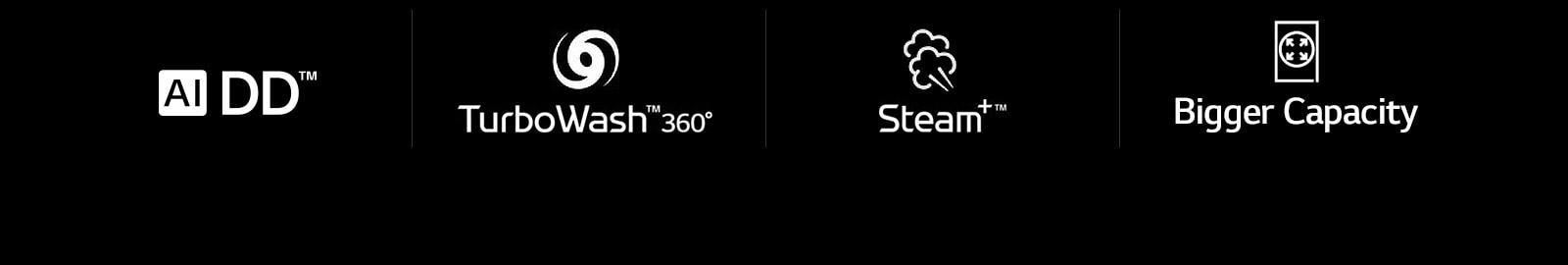 LG F4V9BWP2E 12 kg AI DD™, TurboWash™360˚, Steam+™, Bigger Capacity