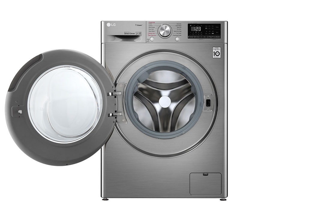 LG 10.5KG Wash / 7kg Dry Silver Vivace - AI DD Washer Dryer Combo, F4V5RGP2T 10.5/7 kg Front View Open, F4V5RGP2T